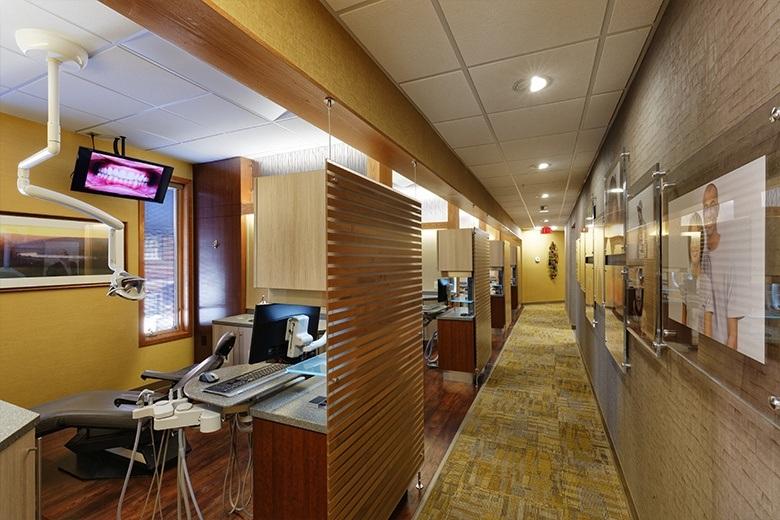 Hallway to dental exam area