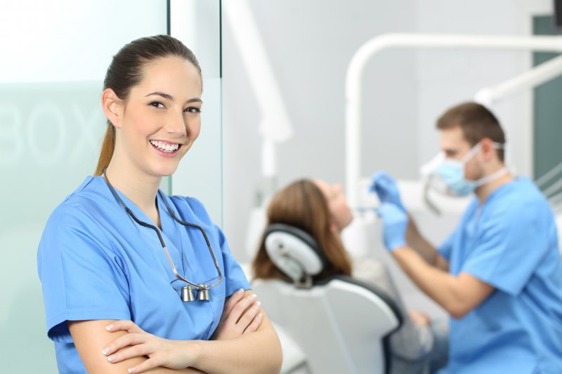 a female dental assistant