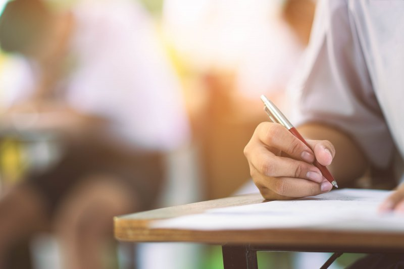 a student taking a test